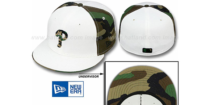 Phillies 'COLOR BLOCK' White-Army Camo Fitted Hat by New Era : pictured without stickers that these products are shipped with