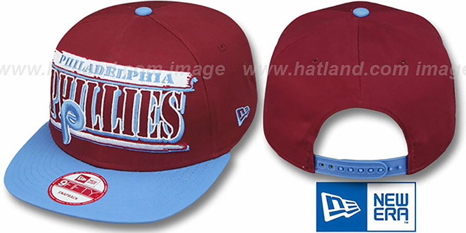 Phillies COOP '2T STILL BREAKIN SNAPBACK' Burgundy-Sky Hat by New Era : pictured without stickers that these products are shipped with
