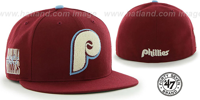 Phillies COOP 'CATERPILLAR' Burgundy Fitted Hat by 47 Brand : pictured without stickers that these products are shipped with