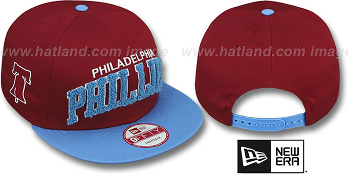 Phillies COOP 'CHENILLE-ARCH SNAPBACK' Burgundy-Sky Hat by New Era : pictured without stickers that these products are shipped with