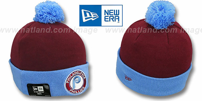 Phillies COOP 'CIRCLE' Burgundy-Sky Knit Beanie Hat by New Era : pictured without stickers that these products are shipped with