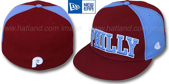Phillies COOP 'JMACK ARCH' Burgundy-Sky Fitted Hat by New Era : pictured without stickers that these products are shipped with