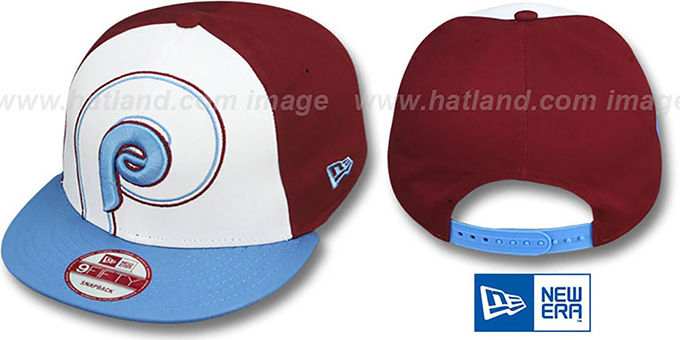 Phillies COOP 'LITTLE-BIG POP SNAPBACK' White-Burgundy-Sky Hat by New Era : pictured without stickers that these products are shipped with