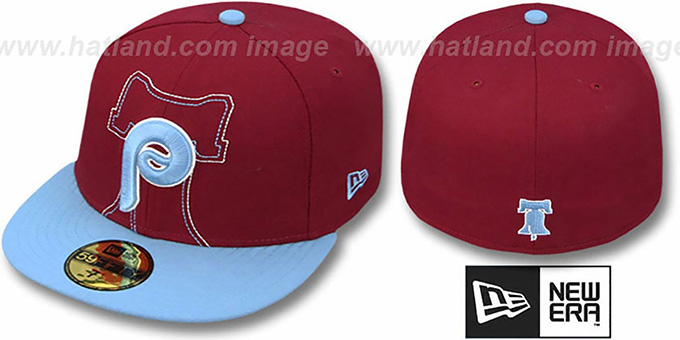Phillies COOP 'NEW MIXIN' Burgundy-Sky Fitted Hat by New Era : pictured without stickers that these products are shipped with