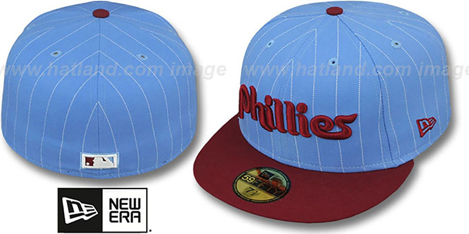 Phillies COOP 'PIN-SCRIPT' Sky-Burgundy Fitted Hat by New Era : pictured without stickers that these products are shipped with