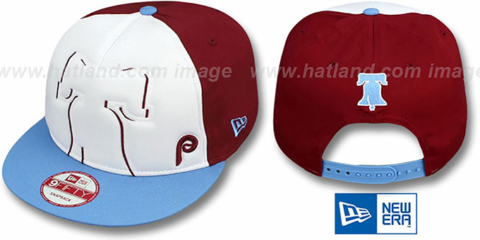Phillies COOP 'POPLA-FOAM SNAPBACK' White-Burgundy-Sky Hat by New Era : pictured without stickers that these products are shipped with