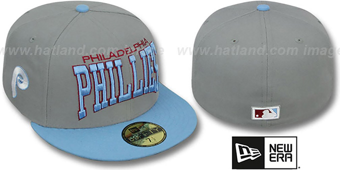 Phillies COOP 'PRO-ARCH' Grey-Sky Fitted Hat by New Era : pictured without stickers that these products are shipped with