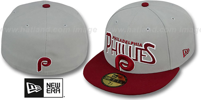 Phillies COOP 'PROFILIN' Grey-Burgundy Fitted Hat by New Era : pictured without stickers that these products are shipped with