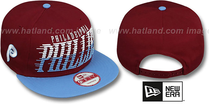 Phillies COOP 'SAILTIP SNAPBACK' Burgundy-Sky Hat by New Era : pictured without stickers that these products are shipped with