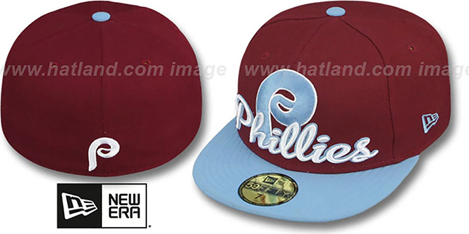 Phillies COOP 'SCRIPT-PUNCH' Burgundy-Sky Fitted Hat by New Era : pictured without stickers that these products are shipped with