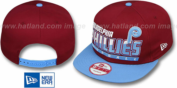 Phillies COOP 'SLICE-N-DICE SNAPBACK' Burgundy-Sky Hat by New Era : pictured without stickers that these products are shipped with