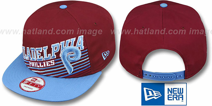 Phillies COOP 'STILL ANGLIN SNAPBACK' Burgundy-Sky Hat by New Era : pictured without stickers that these products are shipped with