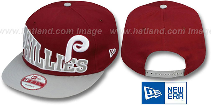 Phillies COOP 'STOKED SNAPBACK' Burgundy-Grey Hat by New Era : pictured without stickers that these products are shipped with