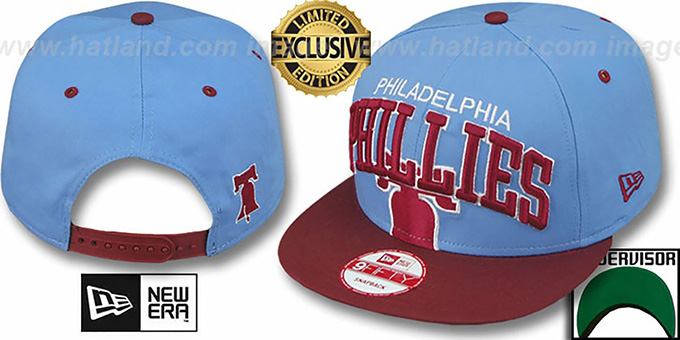 Phillies COOP 'SUPER-LOGO ARCH SNAPBACK' Sky-Burgundy Hat by New Era : pictured without stickers that these products are shipped with