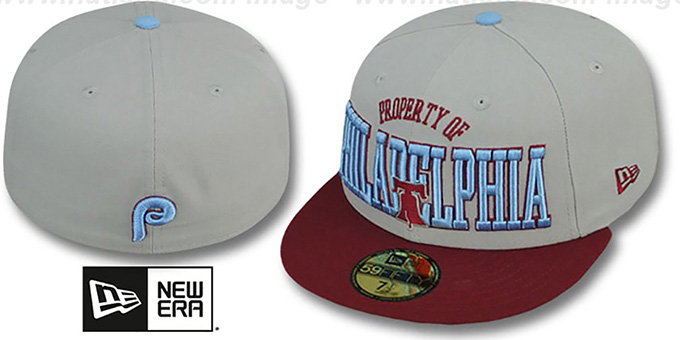 Phillies COOP 'TEAM-PRIDE' Grey-Burgundy Fitted Hat by New Era : pictured without stickers that these products are shipped with