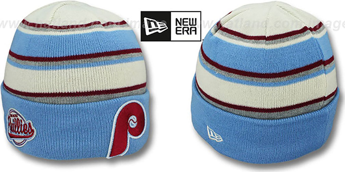 Phillies COOP 'WINTER TRADITION' Knit Beanie Hat by New Era : pictured without stickers that these products are shipped with