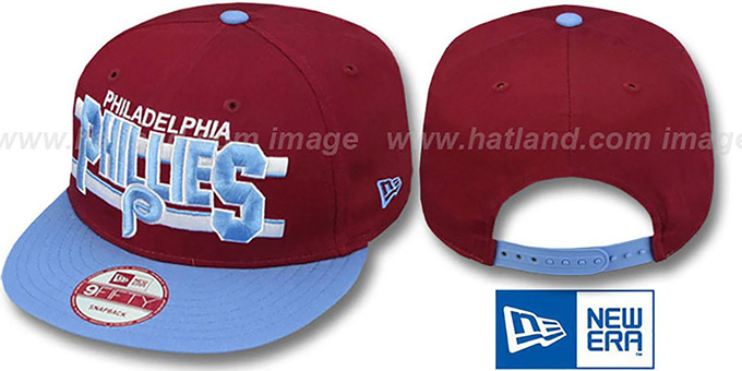 Phillies COOP 'WORDSTRIPE SNAPBACK' Burgundy-Sky Hat by New Era : pictured without stickers that these products are shipped with