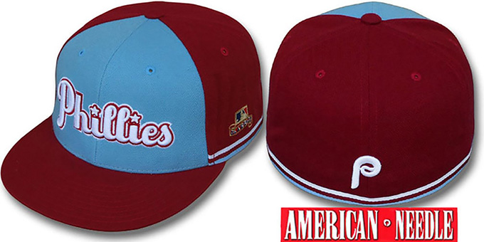 Phillies 'COOPER-T' Sky-Burgundy Fitted Hat by American Needle : pictured without stickers that these products are shipped with