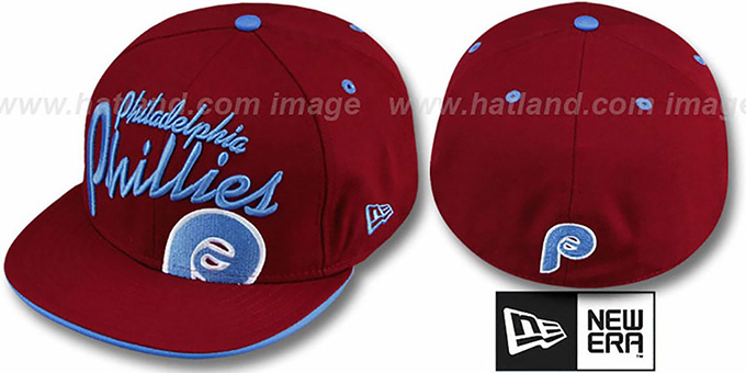 Phillies 'COOPERSTOWN BIG-SCRIPT' Burgundy Fitted Hat by New Era : pictured without stickers that these products are shipped with
