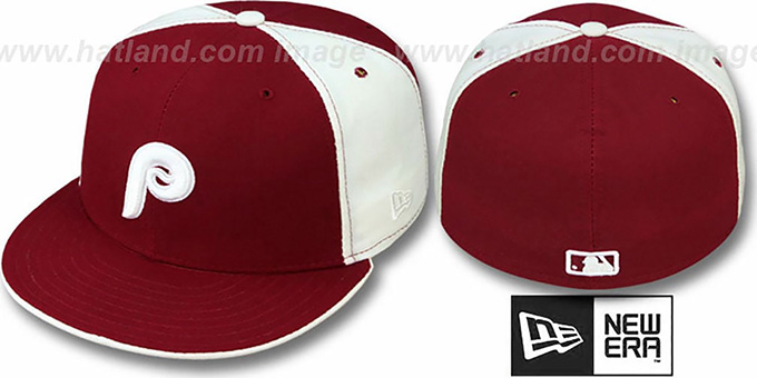 Phillies 'COOPERSTOWN' Burgundy-White Fitted Hat by New Era : pictured without stickers that these products are shipped with