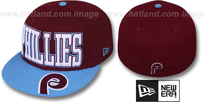 Phillies 'COOPERSTOWN EPIC WORD' Burgundy-Sky Fitted Hat by New Era : pictured without stickers that these products are shipped with
