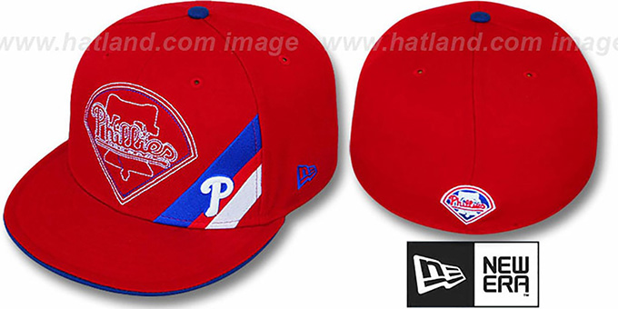 Phillies 'CORNER SLICE' Red Fitted Hat by New Era : pictured without stickers that these products are shipped with