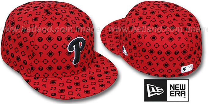 Phillies 'D-LUX ALL-OVER' Red-Black Fitted Hat by New Era : pictured without stickers that these products are shipped with