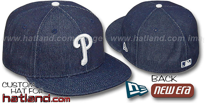 Phillies 'DENIM' Fitted Hat by New Era - navy : pictured without stickers that these products are shipped with