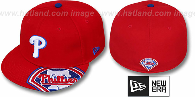 Phillies 'DEVAZOR' Red Fitted Hat by New Era : pictured without stickers that these products are shipped with