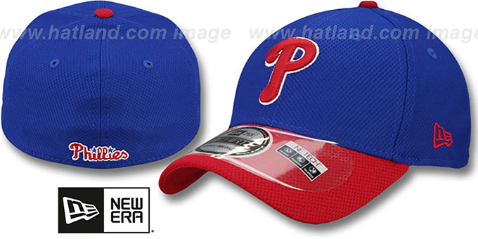 Phillies 'DIAMOND ERA' 39THIRTY Flex Royal-Red Hat by New Era : pictured without stickers that these products are shipped with