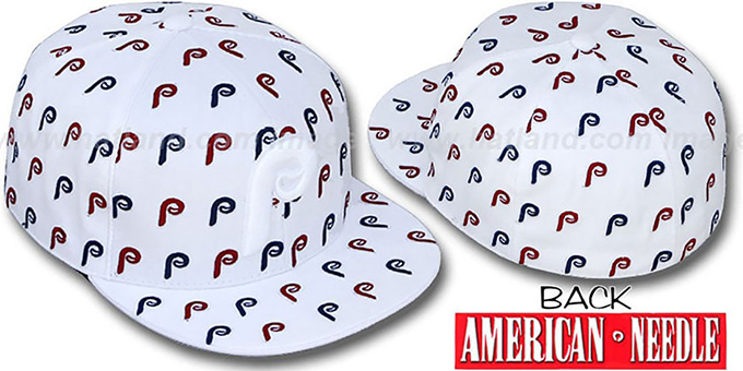 Phillies 'DICE ALL-OVER' White Fitted Hat by American Needle : pictured without stickers that these products are shipped with