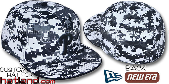 Phillies 'DIGITAL URBAN CAMO' Fitted Hat by New Era : pictured without stickers that these products are shipped with