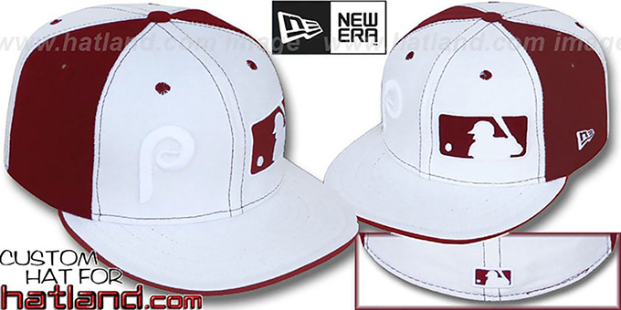 Phillies 'DOUBLE WHAMMY-2' White-Maroon Fitted Hat by New Era : pictured without stickers that these products are shipped with