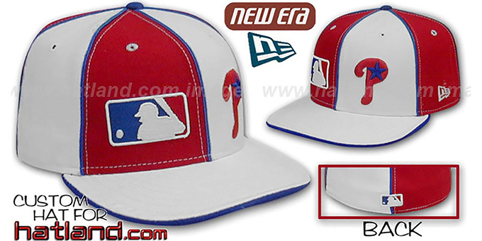 Phillies 'DOUBLE WHAMMY' Red-White Fitted Hat : pictured without stickers that these products are shipped with