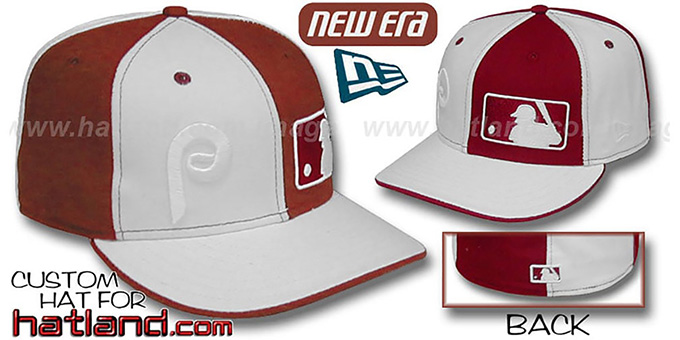 Phillies 'DOUBLE WHAMMY' White-Maroon Fitted Hat : pictured without stickers that these products are shipped with