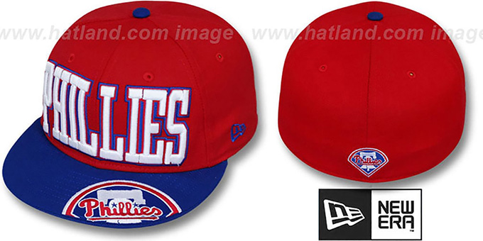 Phillies 'EPIC WORD' Red-Royal Fitted Hat by New Era : pictured without stickers that these products are shipped with