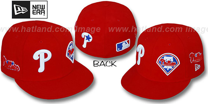 Phillies 'EVOLUTION' Fitted Hat by New Era - red : pictured without stickers that these products are shipped with