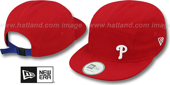 Phillies 'FLAWLESS CAMPER STRAPBACK' Red Hat by New Era : pictured without stickers that these products are shipped with