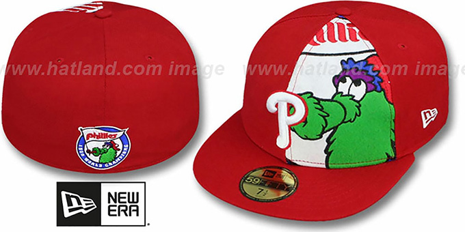 Phillies 'FUNKY MASCOT' Red Fitted Hat by New Era : pictured without stickers that these products are shipped with