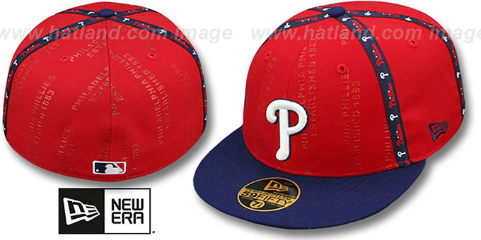 Phillies 'GELLIN' Red-Royal Fitted Hat by New Era : pictured without stickers that these products are shipped with