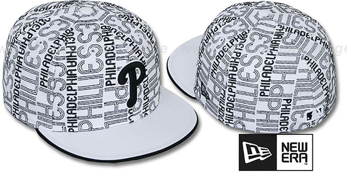 Phillies 'GOOD TIMES ALL-OVER' White-Black Fitted Hat by New Era : pictured without stickers that these products are shipped with