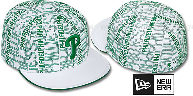 Phillies 'GOOD TIMES ALL-OVER' White-Kelly Fitted Hat by New Era : pictured without stickers that these products are shipped with
