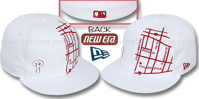 Phillies 'GPS' White-Red Fitted Hat by New Era : pictured without stickers that these products are shipped with