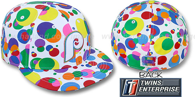 Phillies 'GUMBALL' White-Multi Fitted Hat by Twins : pictured without stickers that these products are shipped with