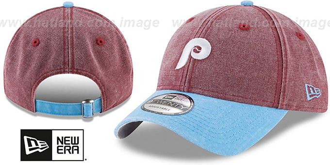 Phillies 'GW COOP RUGGED CANVAS STRAPBACK' Burgundy-Sky Hat by New Era : pictured without stickers that these products are shipped with