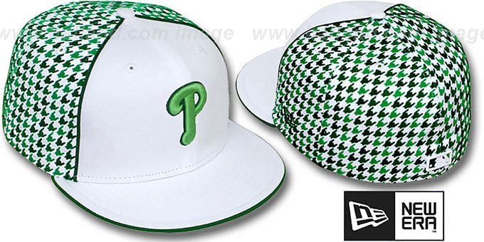Phillies 'HOUNDSTOOTH' White-Green Fitted Hat by New Era : pictured without stickers that these products are shipped with