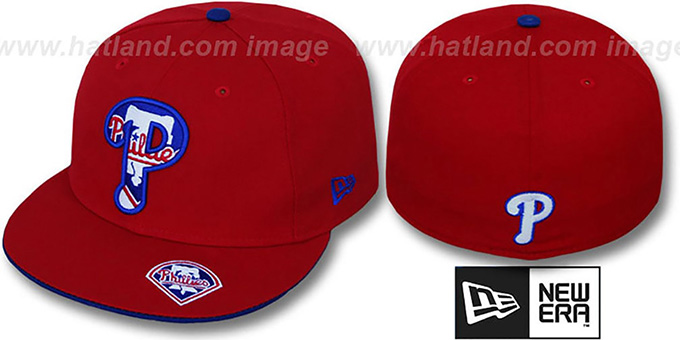 Phillies 'INSIDER BIG-ONE' Red Fitted Hat by New Era : pictured without stickers that these products are shipped with