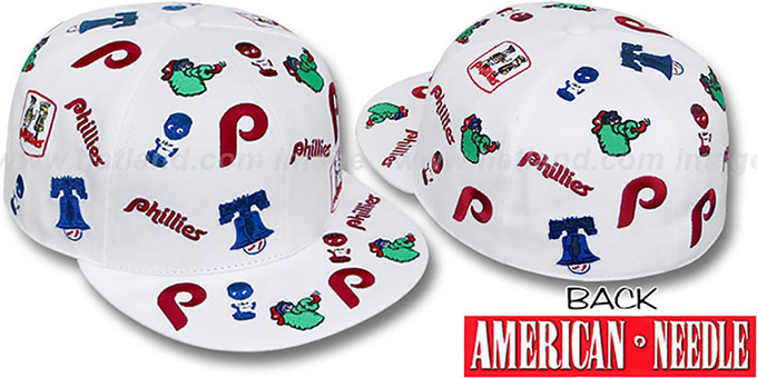 Phillies 'INTREPID ALL-OVER' White Fitted Hat by American Needle : pictured without stickers that these products are shipped with