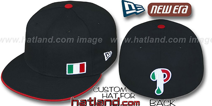 Phillies 'ITALIAN FLAWLESS' Black Fitted Hat by New Era : pictured without stickers that these products are shipped with