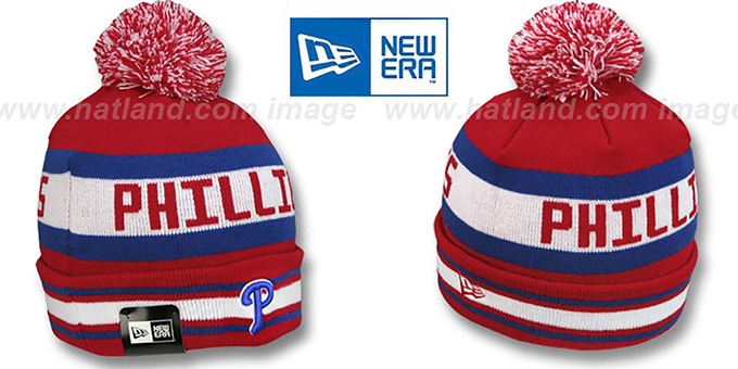 Phillies 'JAKE' Red Knit Beanie Hat by New Era : pictured without stickers that these products are shipped with